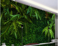 beibehang Custom high quality fashion interior wallpaper tropical rain forest leaves green TV background papel de parede tapety