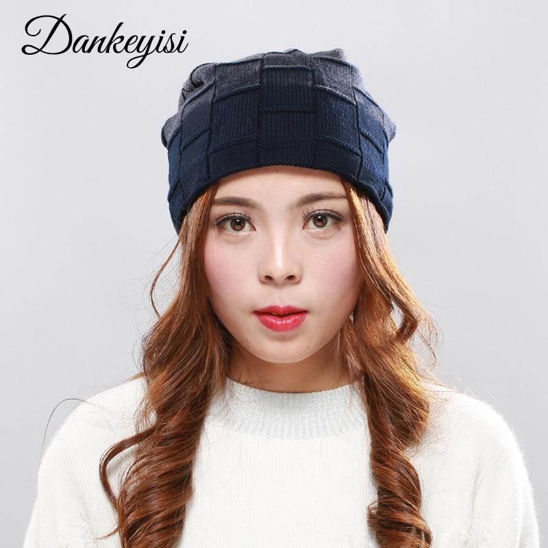 DANKEYISI Winter Hat Knit Plaid Cap Women Caps Warm   Skullies     Beanie   Bonnet Hat Wool Hat Knitting Lady Fashion Bobble Ski Caps