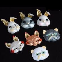 10PCS Cat Animal Pendant Alloy Enamel Flat Back Cartoon DIY