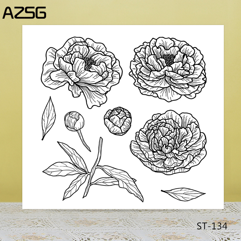 AZSG Exquisite Petal Flower Bud Leaves Clear Stamps/Seals For DIY Scrapbooking/Card Making/Album Decorative Silicon Stamp Crafts