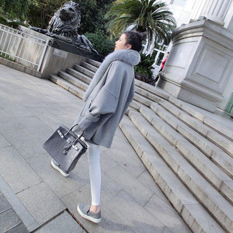 Laine Dame milky Hiver 2018 De Solide Femmes Renard Veste Chaud Vêtements Courte Cachemire Manteau Haut White Gamme Décontractés Fourrure Mince Gray Vestes qwRTAWRI