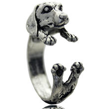 Dachshund Adjustable Animal Rings Dog Finger Wrap Jewelry Puppy Sausage Antique Silver Ring For Women Vintage Dog Jewelry(China)