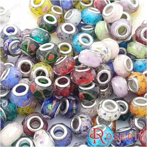 28816 diy Jewelry Accessories,13*8mm,hole 5mm Random Mixing Color Large Hole Beads Facets Glass Beads 20pcs Beneficial To The Sperm Dynamic