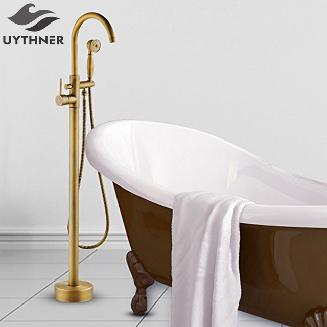 Uythner Luxury Antique Brass Bathroom Tub Faucet Swivel Spout Filler Standing w/Waterproof Platform Base Mixer Tap Hot and Cold
