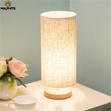 Modern Linen LED Table lights Living Room Lamps Fixtures lamp Bedroom Bedside Lamp Wood Home Decor simple desk