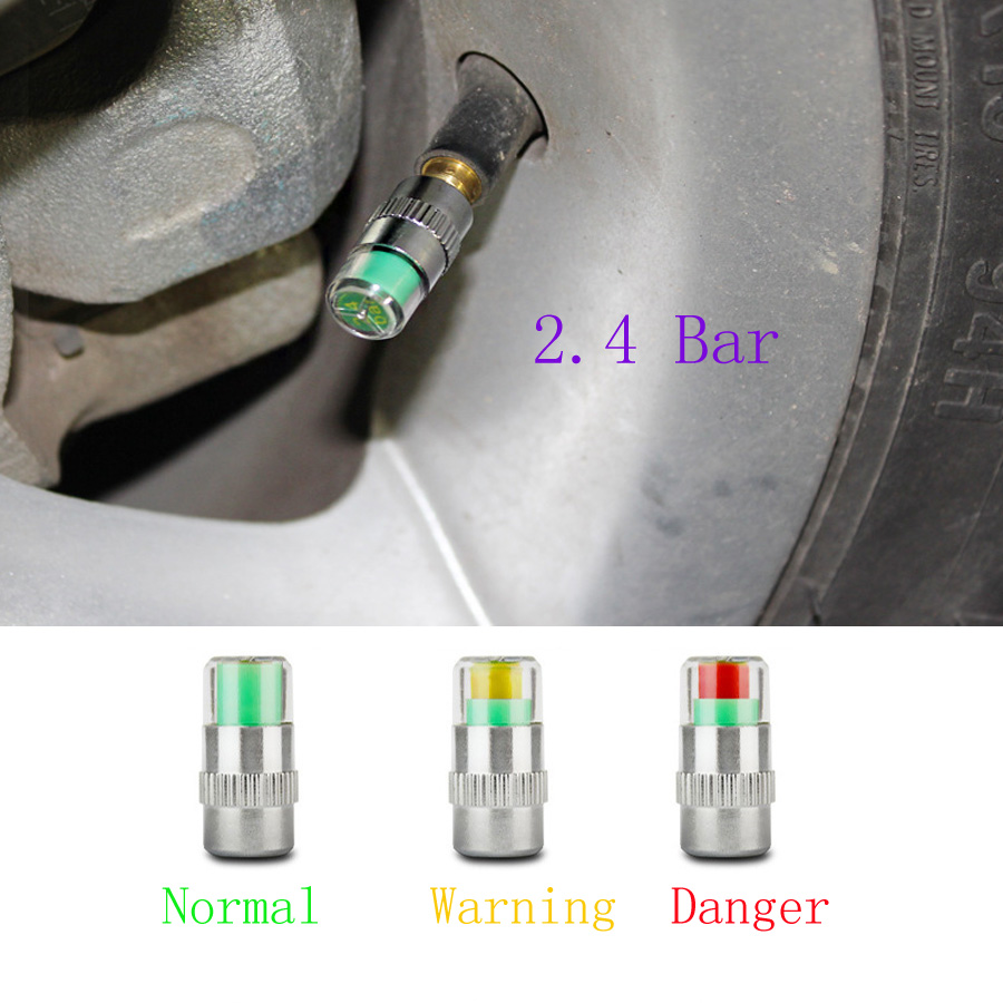2.4 Bar Tire Pressure Car Tire Monitor Pressure Gauge Cap Sensor Indicator 3 Color Eye Alert air pressure gauge 4pcs/Lot цена 2016