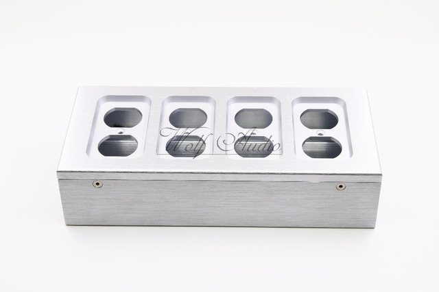 Silver Full Aluminum Electrical Outlet Box Power Socket Chassis