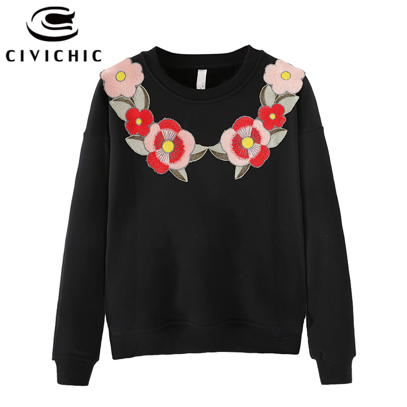 CIVICHIC High Grade Floral Embroidery T-shirt Chinese Style Women O Neck Pullover Casual Loose Cotton Tops Tee Ethnic Wear WLT08