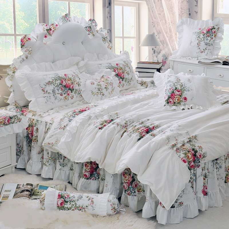 Pastoral Princess Beige Bedding Set Mewah 4 / 6pcs Percetakan Ruffles Selimut Cover Bed Skirt Bedspread Bedclothes Cotton Queen King