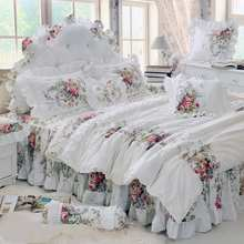 Pastoral Princess White Bedding Set Luxury 4/6pcs Printing Ruffles Duvet Cover Bed Skirt Bedspread Bedclothes Cotton Queen King