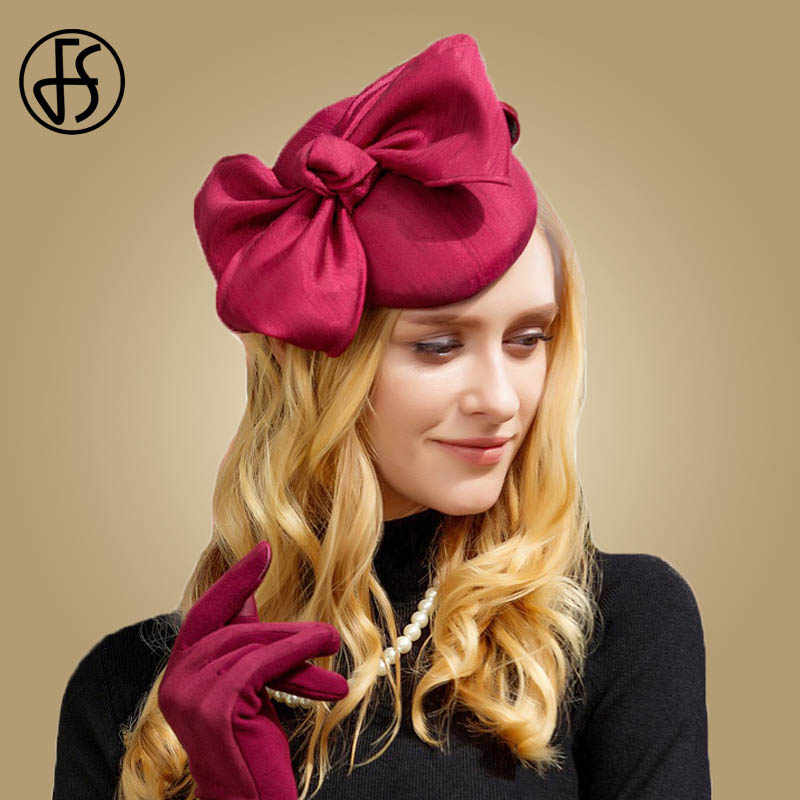 FS Ladies Wine Red Royal Wedding Hats And Fascinators For Woman Party Church Pillbox Hat Bowknot Elegant Ladies Cocktail Fedoras