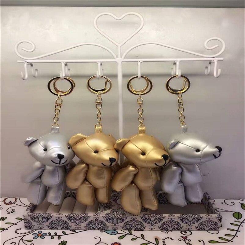 High Quality 2017 New Teddy Bear Toy Handmade Bear Toy Cartoon Animal Key Chains Bag Car Hanging Pendant 2colors Z12