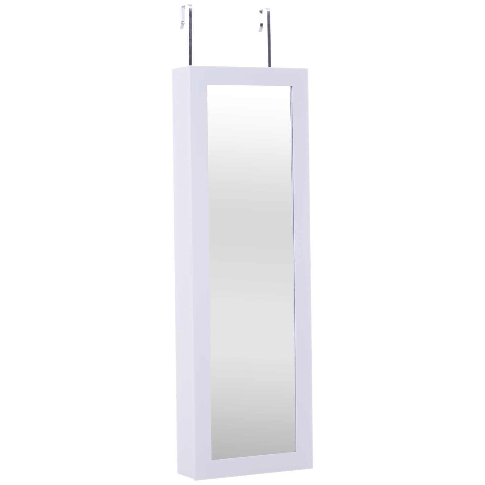 Homcom Armadio Portagioie Da Parete Porta Con Specchio In Legno Mdf 36x108 5x11 5cm Bianco Decorative Mirrors Aliexpress