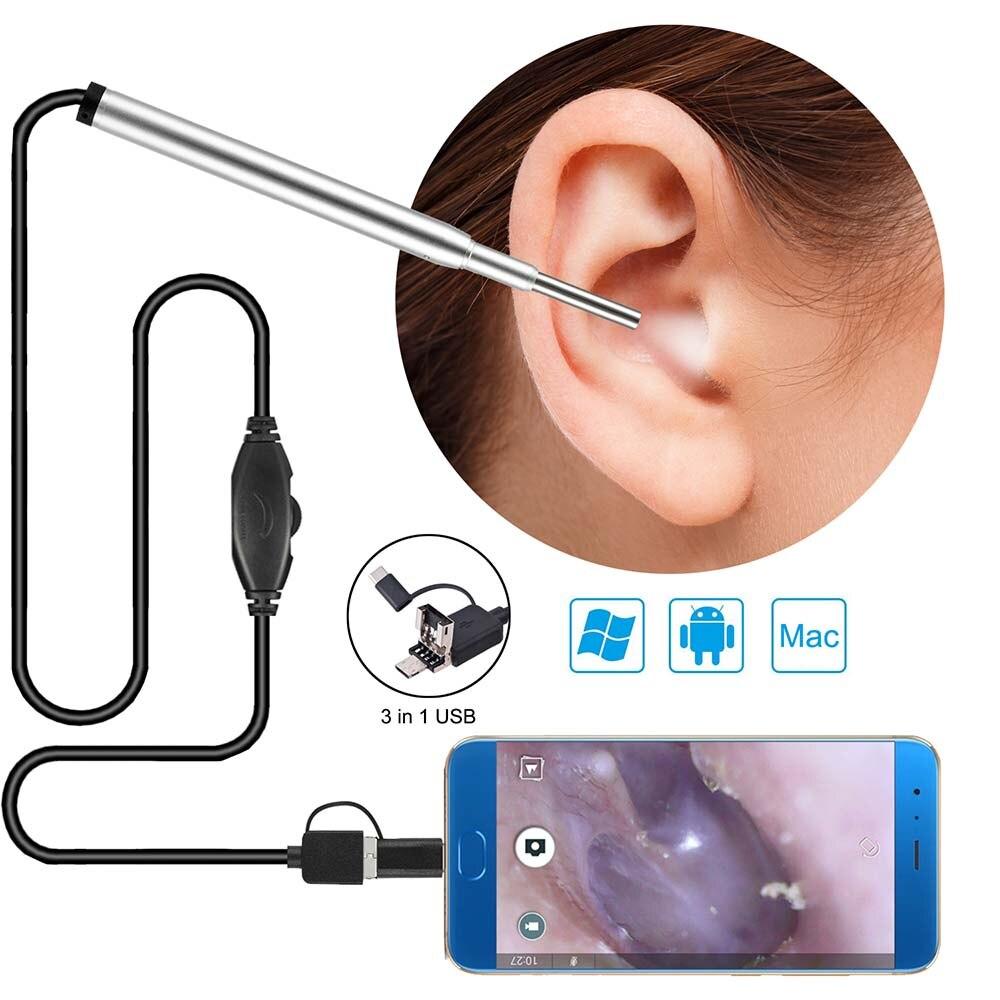 Cámara endoscópica médica 3,9mm Mini cámara de inspección endoscópica USB impermeable para teléfono OTG Android PC oreja nariz boroscopio
