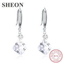 SHEON Authentic 100% 925 Sterling Silver Sparkling Square Zircon Drop Earrings For Women Earring Jewelry Gift