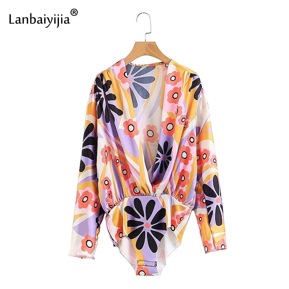 Lanbaiyijia 2018 Newest Women Bodysuit Long Sleeve loose Collect waist Summer bodysuit Flowers Print Deep V