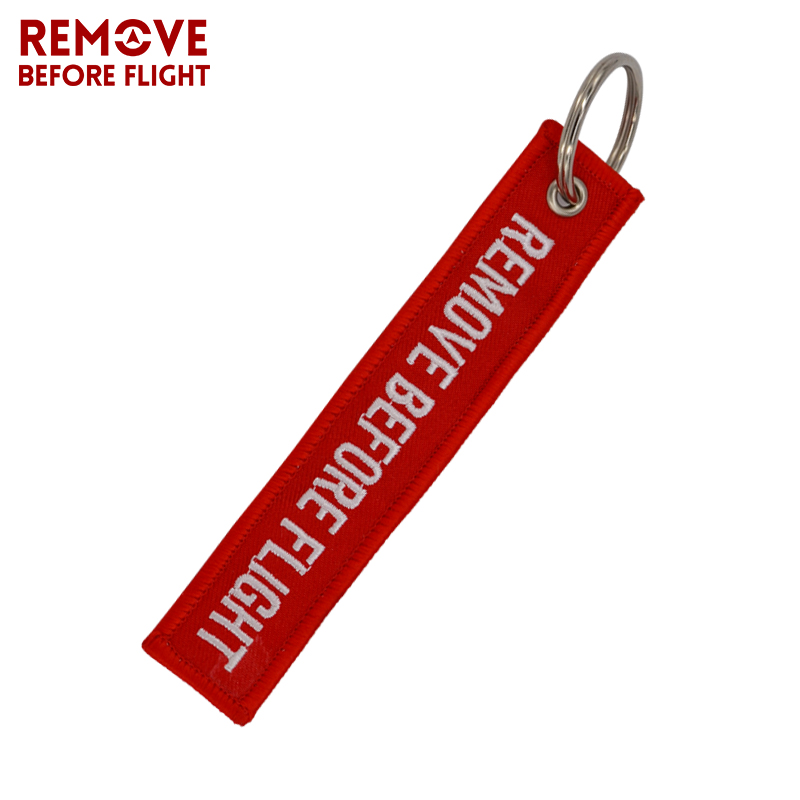 Remove Before Flight Key Chain Chaveiro Red Embroidery Keychain Ring for Aviation Gifts OEM Key Ring Jewelry Luggage Tag Key Fob2 (2)