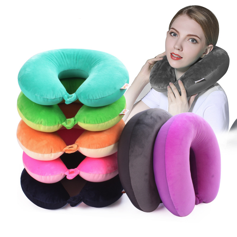 20 Kinds Microbeads U Shaped Travel Pillow Pure Stripe Color Rest Soft Cushion Neck Nanoparticle Pillow for Car Flight Foam in Decorative Pillows from Home Garden