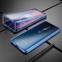Luxury Metal Phone Cases for OnePlus Metal Bumper With Tempered Glass Body Full Protection for OnePlus 7Pro Coque Accessories