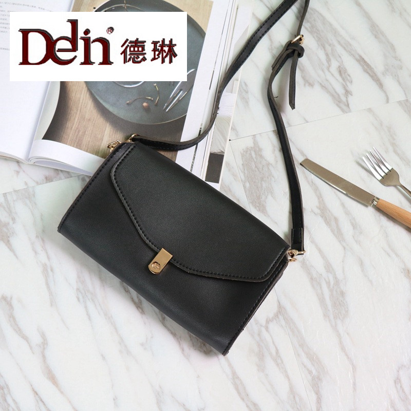 DELIN The new 2017 han edition lock hand bag handbag joker more leisure on every layer of soft PU one shoulder aslant bag bag