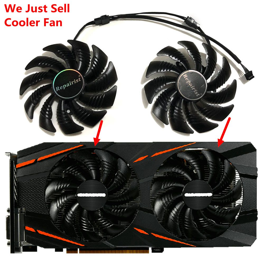 GV-RX570/580GAMING GV-RX470WF2/RX480WF2 T129215SU 87MM(90mm) Gigabyte Cards Cooling Fan as Replacement