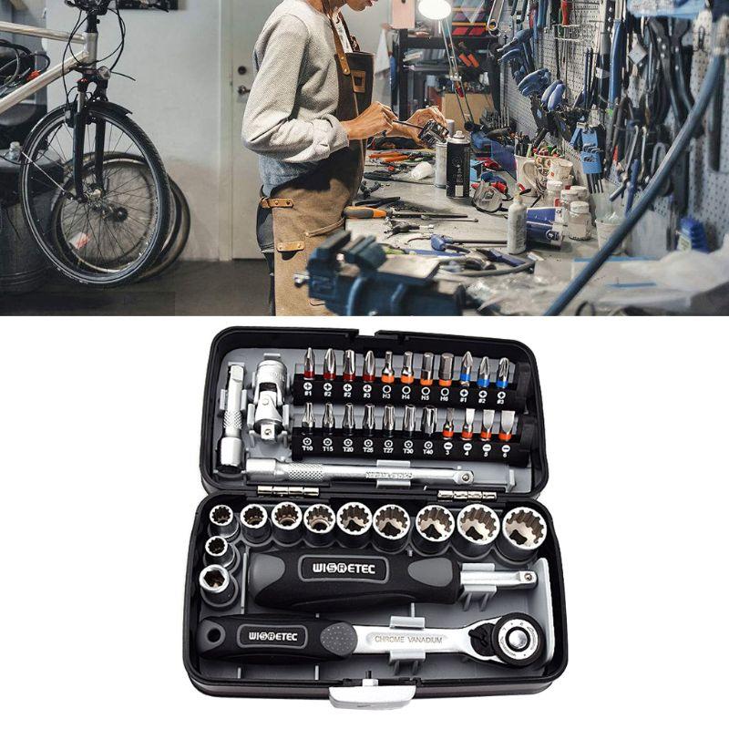 High Quality 38PCS Mini Ratchet Wrench Set 1/4 Socket Screwdriver Head Hex Trox Slot Bit Bike Repair Handle Tools S2 Material