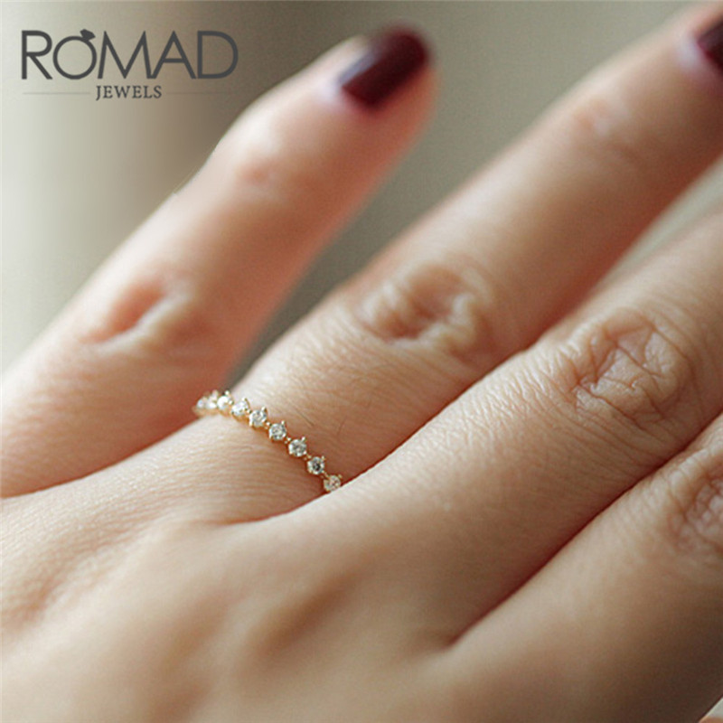 ROMAD Simple Small Zircon Crystal Delicate Fresh Rings For Women New Jewelry Gold Color Metal Tiny Ring Gift Size 5-9 R4