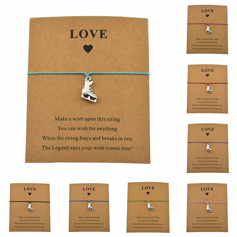 8 Colors New Casual Sports Ice Skate Shoes Boots Skating Charm Love Paper Card Make a Wish Bracelets for Women Men Gifts Jewelry|Charm Bracelets| - AliExpress