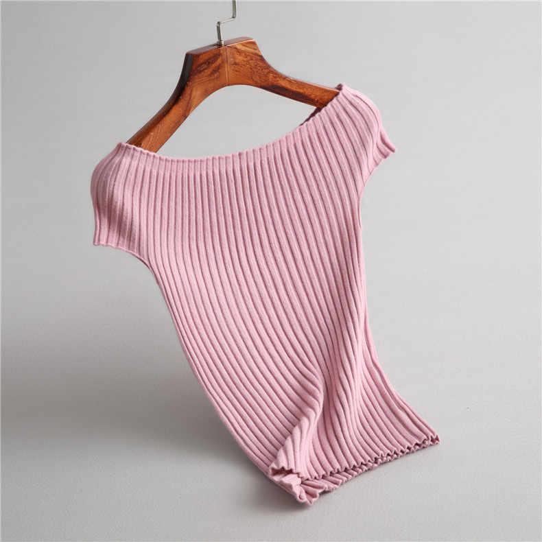 INNASOFAN suéter femenino de punto de verano-Otoño suéter fino de moda europea-americana suéter elegante de color sólido con mangas cortas