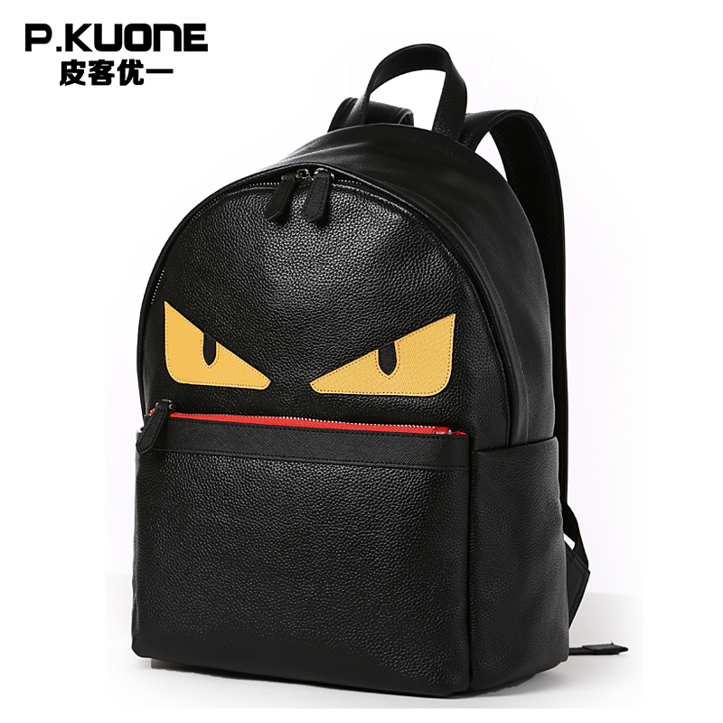 P.Kuone Brand Designer Genuine Leather Men And Women Backpack Perfect Quality Small Monster School Bag Laptop Bag For Youth s c cotton brand backpack men good quality genuine leather