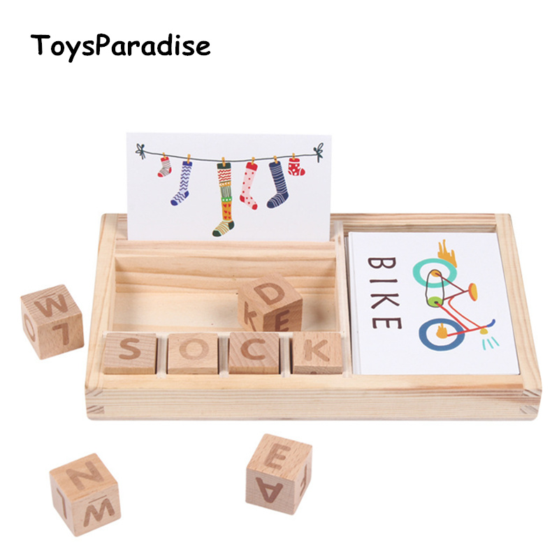Wood Cardboard Learning English Wooden Toys For Kids Children's Cognitive Puzzle Cards Montessori Educational Gift