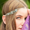 New Hair Chain Headwear Bohemian Style Natural Turquoise Beads Multilayer Tassel Chain Hairband Wedding Headband For Women F049