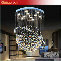 Best Price Modern LED K9 Crystal Chandeliers Duplex Villa Staircase Chandelier Tellurion Hanging Wire Hall Llights Project Lamp