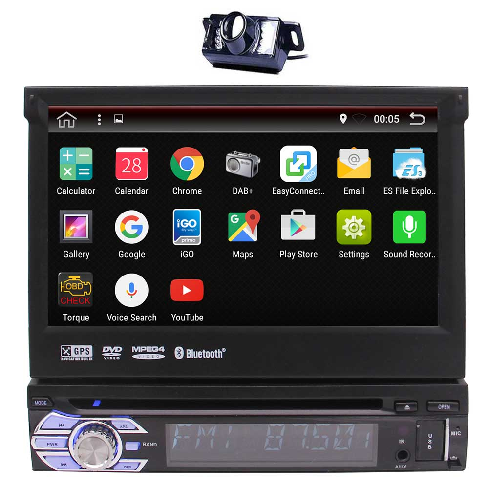 2017 New <font><b>Android</b></font> 6.0 In-dash Car <font><b>DVD</b></font> Stereo GPS <font><b>Autoradio</b></font> Navigation Radio Head Unit Single <font><b>1din</b></font> Bluetooth+Free Rear Camera image