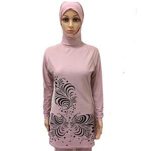 Image 4 - HAOFAN 2018 בתוספת גודל בגדי ים מוסלמיים נשים צנוע פרחוני הדפסת מלא כיסוי בגד ים אסלאמי חיג אב האיסלאם Burkinis וחוף אמבט
