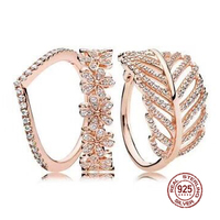 2018 NEW 100% 925 Sterling Silver Ring Rose Leaf Petals Stacked Ring Wedding Ring For Fashion Women DIY Gift Jewelry