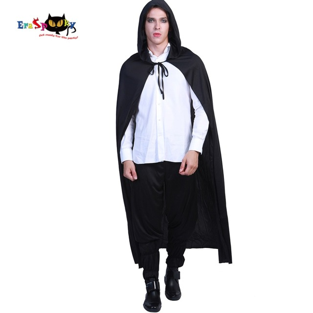 3d700d4a6b04 Carnival Black Hooded Vampire Cloak Gothic Scary Halloween Costumes for Adult  Men Dracula Long Cape Party Ghost Killer Cosplay