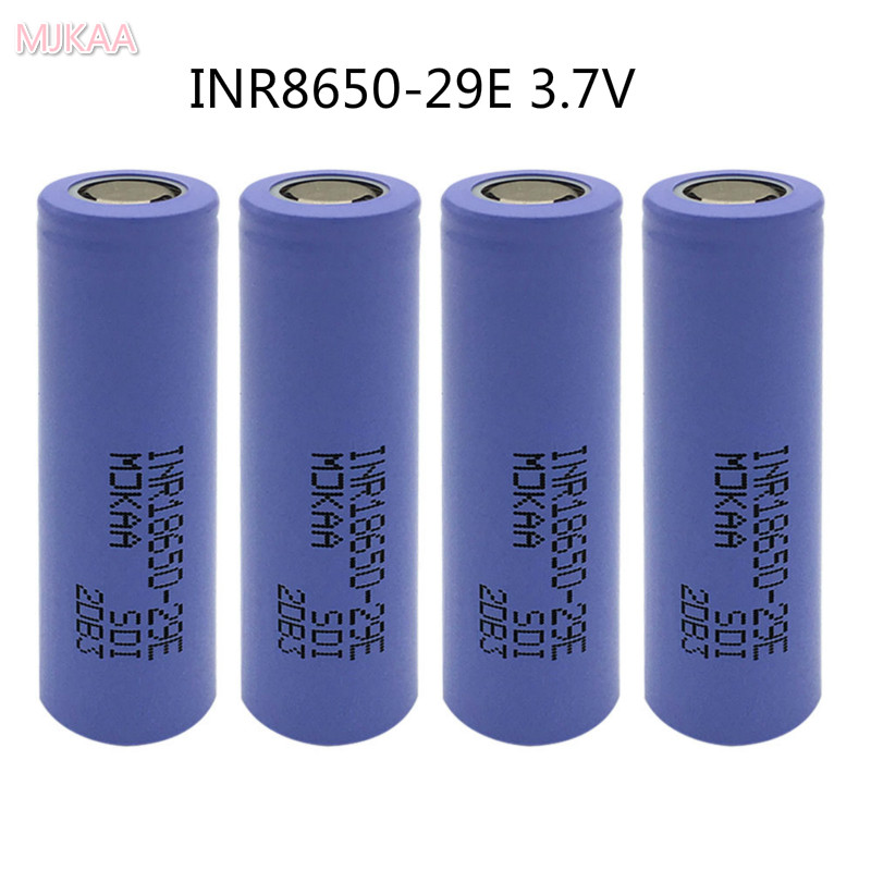 4pcs/lot 100% original for 18650 INR18650-29E 2900mah 10A 3.7V rechargeable high drain battery with flat top safety