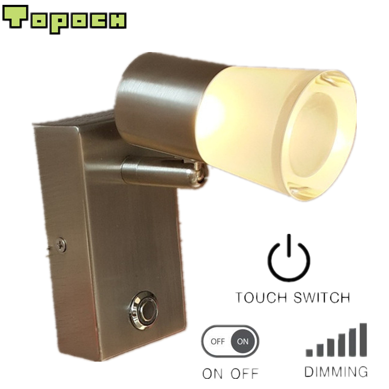Topoch Bedroom Wall Light Nickel Plated Rotational Head Touch On/Off/Dimmer Switch CREE LED 3W 200LM Comfortable Light No Glare modern fashion luxury hotel retro wall light led 3w 200lm ac100 240v firm hose 360mm flexible easy install comfortable light