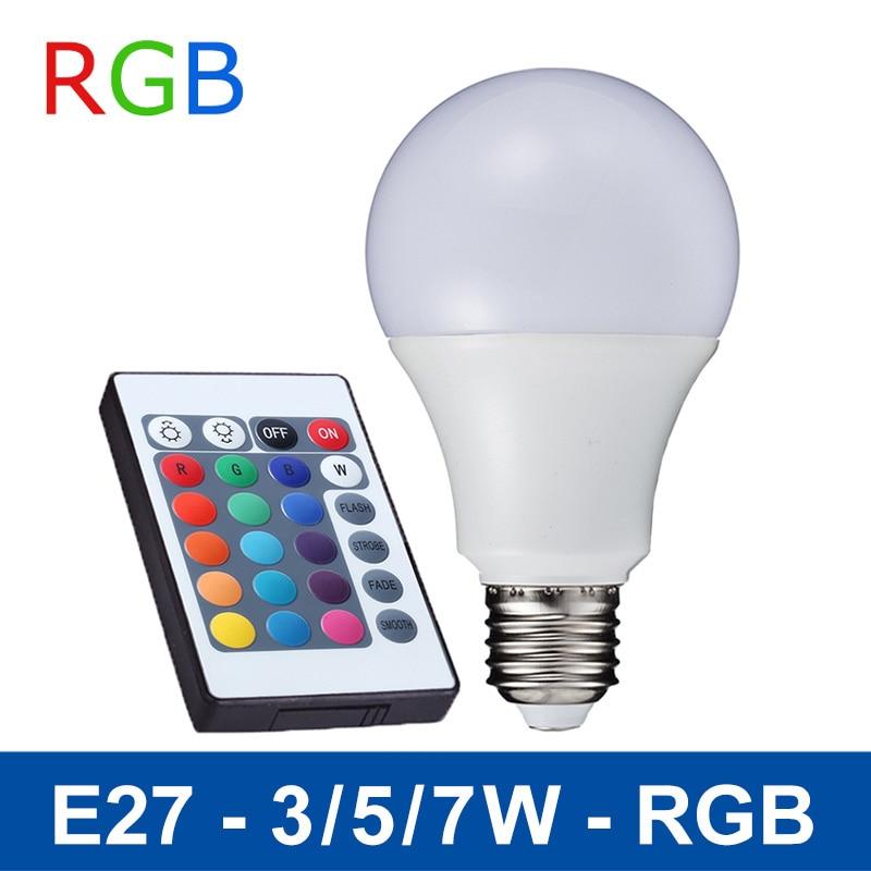 E27 Rgb Led Lamp 3w 5w 7w Led Rgb Bulb Smd5050 Led Light 110v 220v Home Decoration 16 Colors Change Ir Remote Controller A65a80 kopen