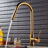 Kitchen Faucet Pull Out Deck Mounted Pull Swivel 360 Degree Rotating Cold And Hot Tap Gold