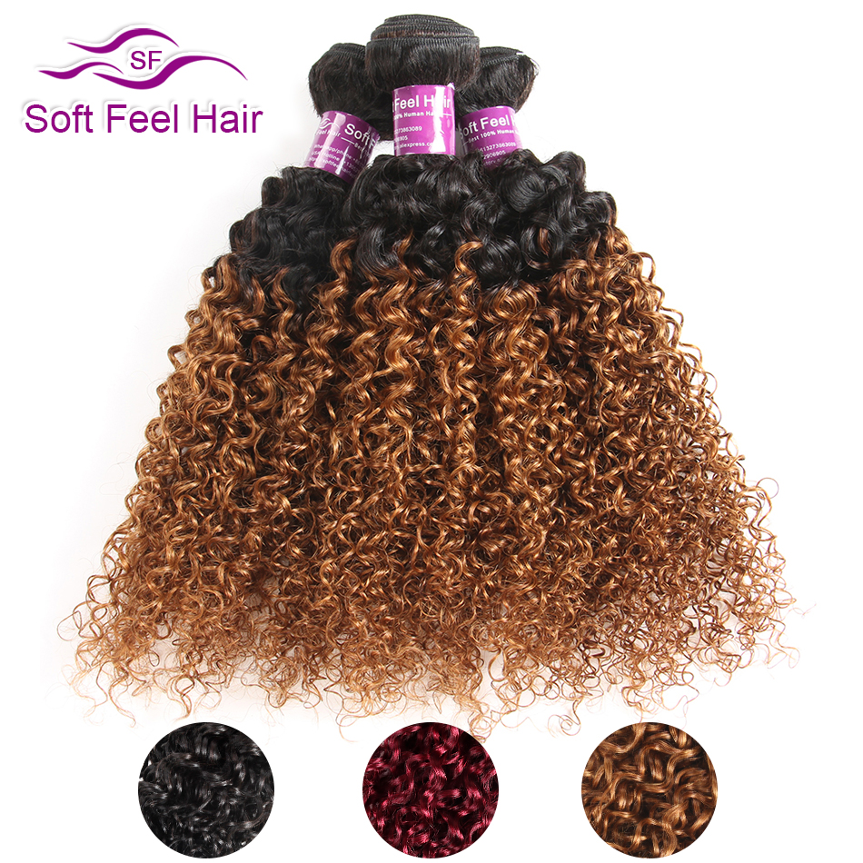 Mjukt Feel Hair 1/3 / 4Pcs Ombre Brazilian Kinky Curly Hair Bundles Weave Mänskliga Hårförlängningar 1B / 30 Brown Remy Ombre Hair Bundles