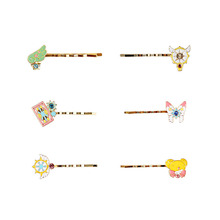 SANSUMMER 2019 New Style Fashionable Alloy Drip Oil Cartoon Cherry Series Cute Hairpin Wings Star Sticks Christmas Gift 5300