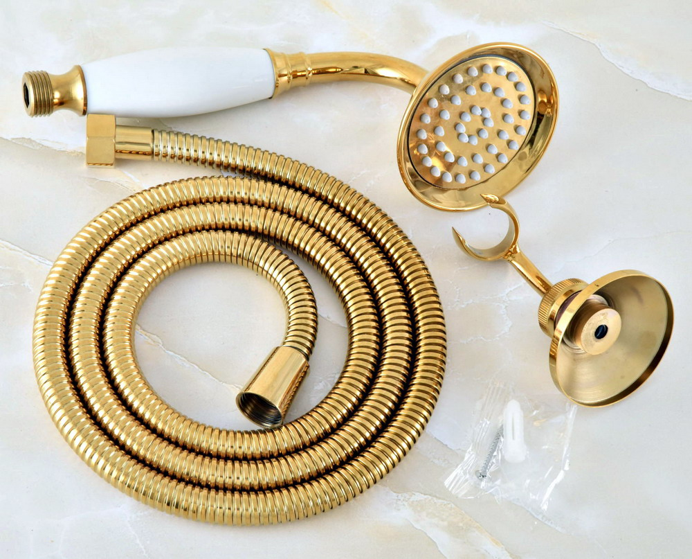 Gold Color Brass Hand Held Shower Head Wall Holder Bracket 1.5M Hose Set Water Saving Bathroom Handheld Sprayer Ahh040