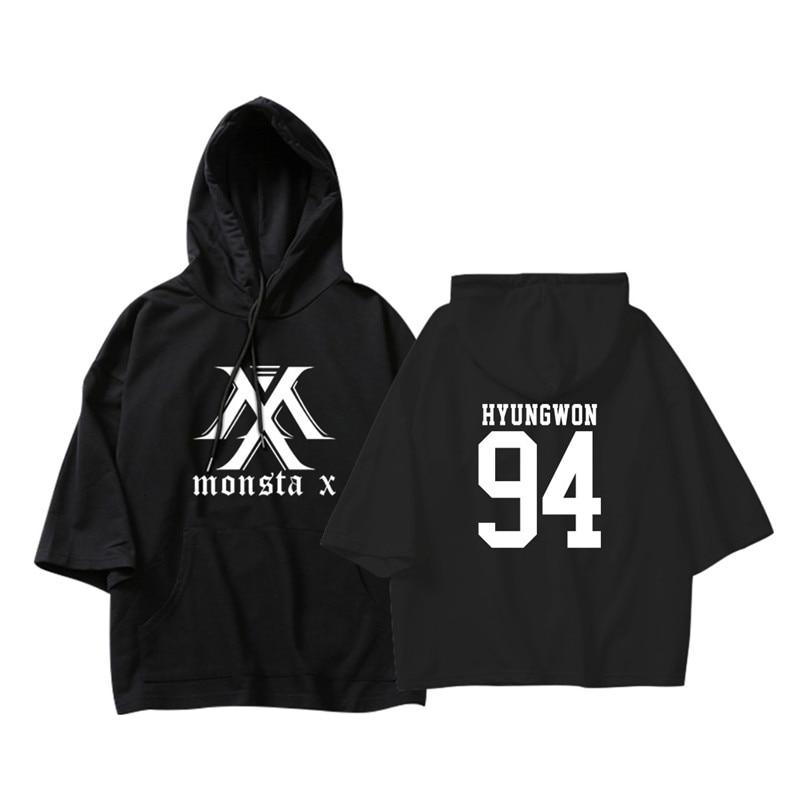 KPOP Korean Fashion MONSTA X I.M WONHO MINHYUK Cotton Thin Three Quarter Hoodies Pullovers Hoode Sweatshirts PT605