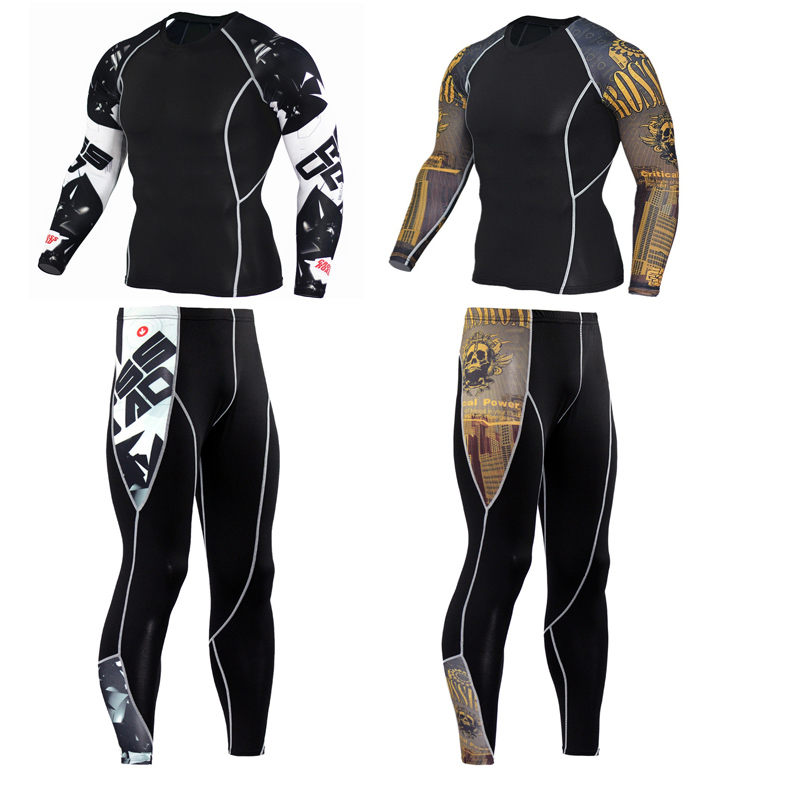 Jogging Suit Fitness MMA Rash Guard Male Gym Base Layer Compression Clothing Brand Men's Track Long  Thermal Underwear S-XXXXL