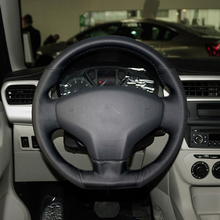 Free Shipping High Quality cowhide Top Layer Leather handmade Sewing Steering wheel covers protect For Citroen C-Elysee/Elysee 36mm shaft special wheel balancer adaptor for c elysee cones