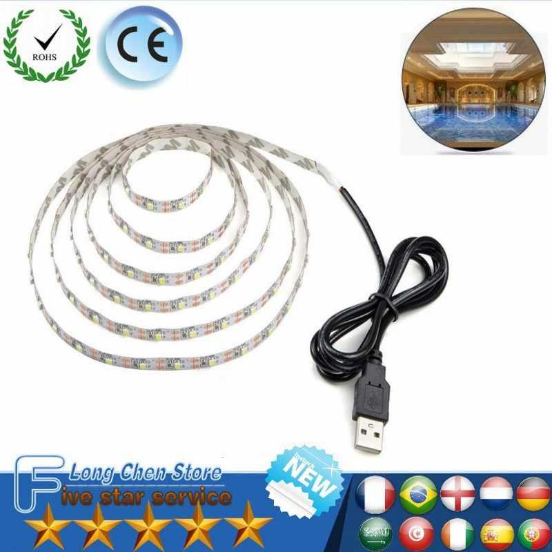 5 V 50 CM 1 M 2 M 3 M 4 M 5 M kabel USB zasilanie taśmy LED światła lampa SMD 3528 boże narodzenie dekoracja biurka lampa taśma do TV oświetlenie tła