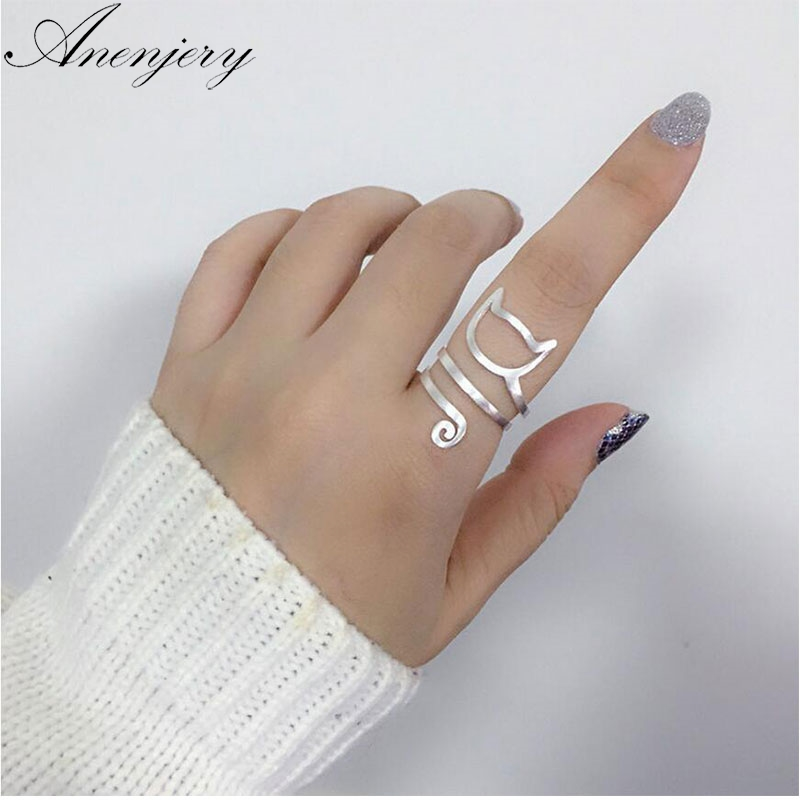 Best buy ) }}Anenjery Personality Design 925 Sterling Silver Wrap Around Cat Rings For Women Girl