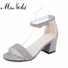 Ms. Noki/летние офисные туфли в сдержанном стиле туфли женская обувь удобные открытым носком, на среднем толстом каблуке Туфли-лодочки с пряжкой и ремешком обувь